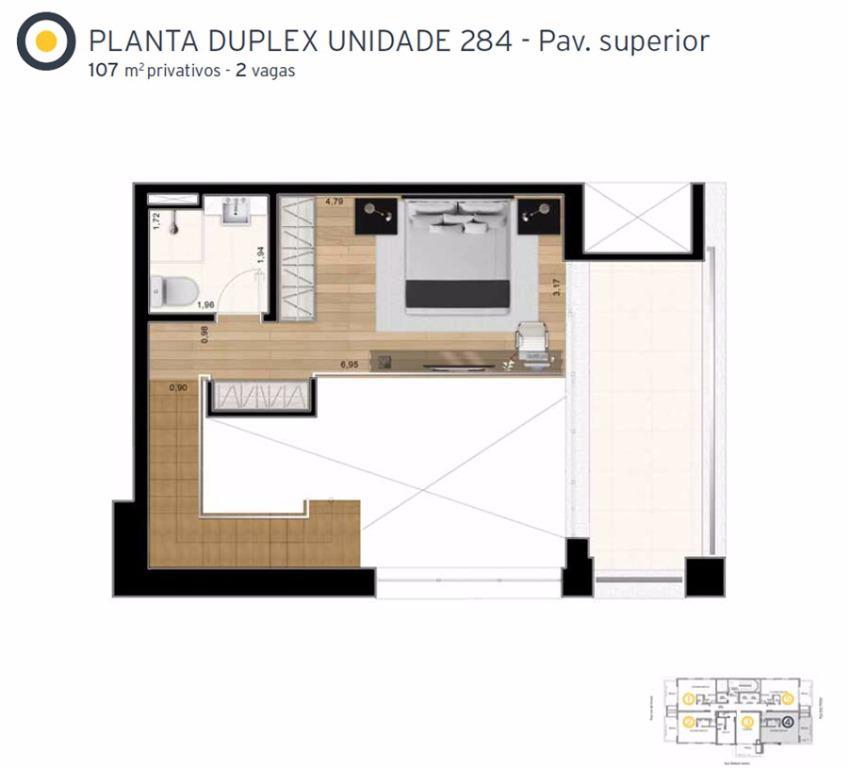 Planta Cobertura Duplex Superior Final 4 - 107 m²