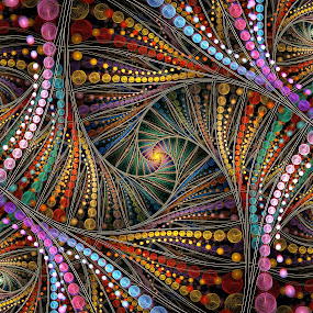 Mardi Gras Bead Spiral 1 by Peggi Wolfe - Illustration Abstract & Patterns ( abstract, wolfepaw, bead, color, fun, spiral, fractal, mardi gras, digital )