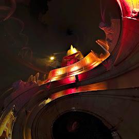Fountain Swirled by Pat Eisenberger - Digital Art Abstract ( abstract, michigan, belle isle, digital art, fountain, scott memorial fountain, detroit )