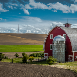 Palouse Country Classic Farm by Bob  Juarez - Landscapes Prairies, Meadows & Fields ( palouse, barn, truck, farmland, silo,  )