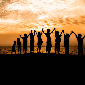 teamwork by Christianto Mogolid - People Group/Corporate ( teamwork, sunset, children, cooperation, human need )