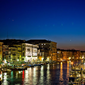 A night in Venice by Leanne Kordis - Landscapes Travel ( lights, boats, venice, night, italy )