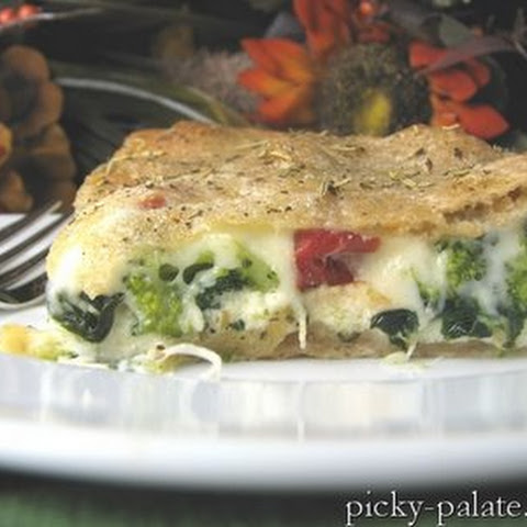 Ricotta Stuffed Spinach and Broccoli Pizza Pie