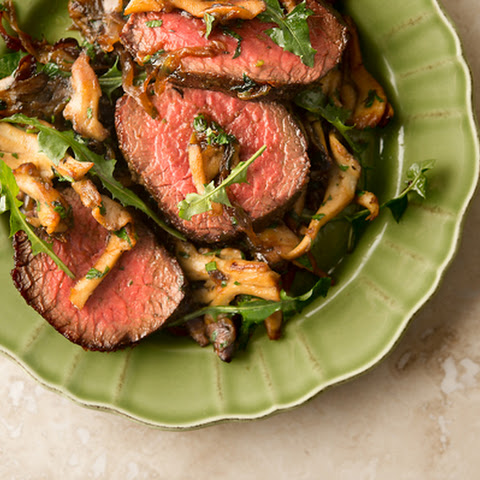 Venison with Caramelized Onions and Mushrooms