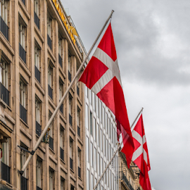 Danish flags on building by Vibeke Friis - Buildings & Architecture Other Exteriors ( paris, flags, champs elysees, street, danish,  )