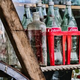 Farmers Market by Keith-Lisa Bell Bell - Artistic Objects Still Life ( old, wood, digital art, bottles, coke bottles )