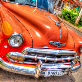 Sunshine by Kimberly Hunker - Artistic Objects Antiques ( car, orange, old, antique, cuba )