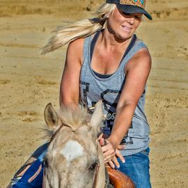 Blonde Barrel Racer by Joe Saladino - Sports & Fitness Rodeo/Bull Riding ( blonde, barrel race, horse, lady, racer )