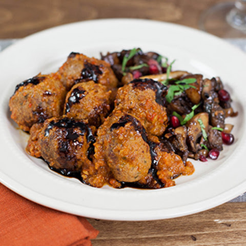 Roasted Garlic Chicken Meatballs with Warm Red Wine Romesco Sauce
