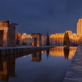 Debod Temple in Madrid at sunset by Wojciech Toman - Landscapes Sunsets & Sunrises