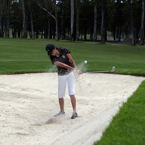 Bunker shot by Cristobal Garciaferro Rubio - Sports & Fitness Golf ( sand, bunker, grass, lady, trees, leaves, shot )