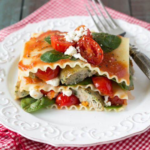 {No Bake}Spinach Tomato and Feta Lasagna