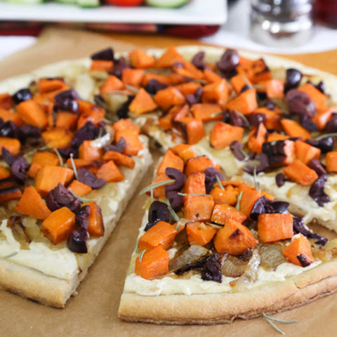 White Pizza with Sweet Potato, Onions, and Olives