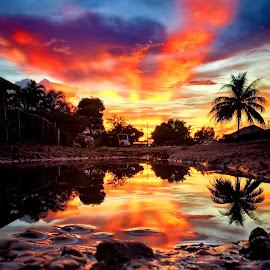 AMANECER EN MIAMI by Luis Hernandez - Landscapes Sunsets & Sunrises ( color, amanecer, city )