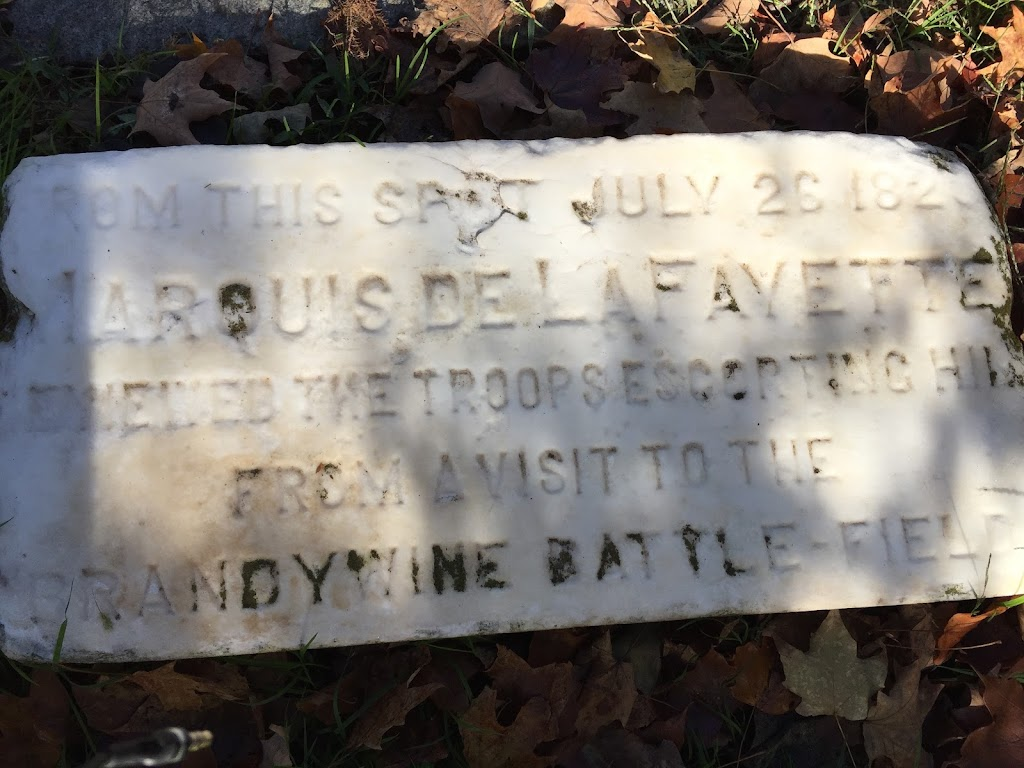From this spot on July 26 1823, Marquis de LaFayette reviewed the troops escorting him from a visit to the Brandywine battle-field