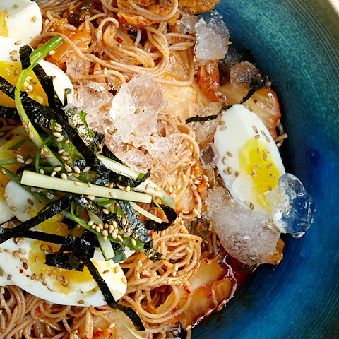 Cold Buckwheat Noodles with Kimchi and Eggs