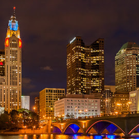 Nigh Skyline of Columbus OH by Carl Albro - City,  Street & Park  Night ( skyline, night, cityscape, river )