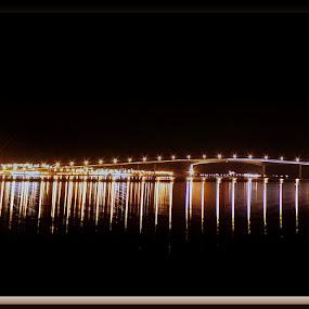 Sortland bridge by Benny Høynes - Buildings & Architecture Bridges & Suspended Structures ( home, by night, bridge, sortland, panoramic )