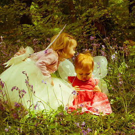 Sisters by Amie Burgess - Babies & Children Children Candids ( love, sisters, fairys, outdoors, bluebells )