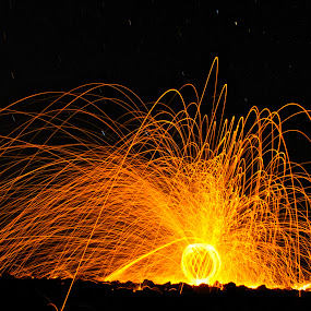 Orb Explosion by Jordan Wangsgard - Abstract Light Painting ( light painting, sky, steel wool, orb, stars, explosion, nightography, long exposure, sparks, rocks, fire )