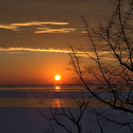 Goderich Sunset 2 by Terry Saxby - Landscapes Sunsets & Sunrises ( water, canada, terry, huron, sunset, goderich, ontario, lake, saxby, nancy )