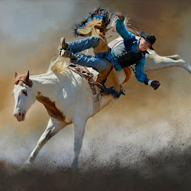 Bare Back Rider by Rich Reynolds - Digital Art Things ( horseback, throw, rider, horse, rodeo, bare back )