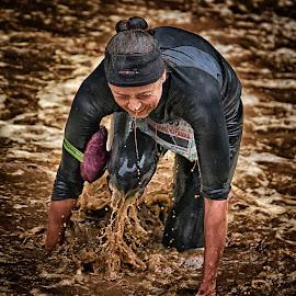 Kneeling Anita by Marco Bertamé - Sports & Fitness Other Sports ( water, splatter, splash, differdange, 2015, kneeling, soup, waterdrops, luxembourg, strong, woman, drops, lady, brown, strongmanrun )