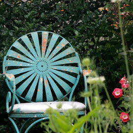 Blue Chair and Flowers by Bonnie Burgeson - Artistic Objects Furniture