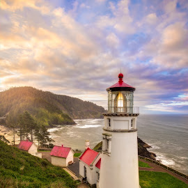 heceta head dawn by Nick Page - Buildings & Architecture Other Exteriors ( waterscape, lighthouse, oregon coast, sunrise )