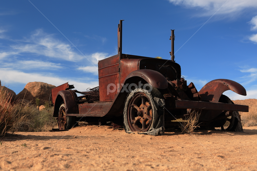 Old Enough by Dennis Ducilla - Transportation Other ( clouds, sand, desert.rust, old, truck, parks, joshua, ducilla, antique )
