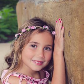 Pretty little pretty one by Judy Deaver - Babies & Children Child Portraits ( pink, flowers, summer portrait, pink dress )