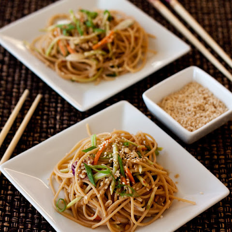 Whole Wheat Noodle Salad with a Spicy Peanut Sauce