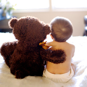 Buddies by Angel Solomon Caracciolo - Novices Only Portraits & People ( bear, friends, teddy bear, bed, back, buddies, baby, babies, cute baby, cute,  )