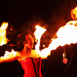 Girl on Fire by Hugo Sousa - People Musicians & Entertainers ( fogo, artistas, art, fire artist, fire )