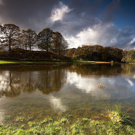 Elterwater Reflections by Martin West - Landscapes Mountains & Hills ( clouds, reflections, trees, elterwater, lake district )