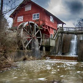 Kirby's Mill by Diane Beatty - Buildings & Architecture Public & Historical ( mill, stream, creek, red mill, historic )