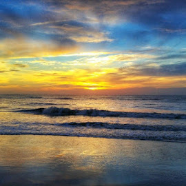 Sunrise  by Kimberly Sharp - Instagram & Mobile Android ( water, skyline, colorful, summer, ocean, seascape, beach, sunrise, ocean view )