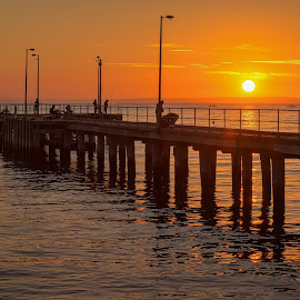 Sunrise Sailing by Keith Walmsley - Buildings & Architecture Bridges & Suspended Structures ( water, nature, australia, boats, pier, victoria, sunrise, landscape, coast )