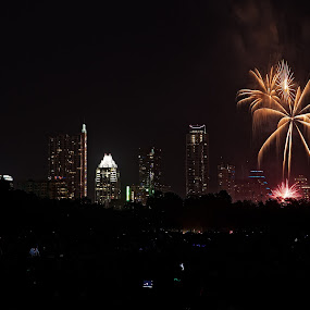 Fireworks over Austin by Dave Files - Abstract Fire & Fireworks ( austin, tx, pwcfireworks, fireworks, night, cityscape, digital )