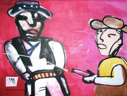 Billy the Kid (eigen bewerking van schilderij Herman Brood) - Olieverf op Canvas - 75 x 100 cm