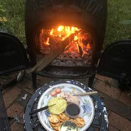 Wine, Cheese and Bikkies by the fire by Dawn Simpson - Food & Drink Meats & Cheeses ( biscuits, snack, fire, winter supper, pot belly, wine, cheese )