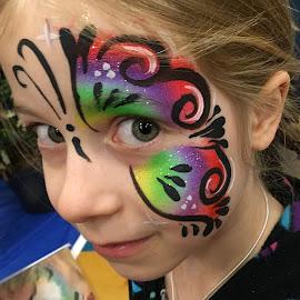 Megan the Butterfly by Richard Duerksen - People Body Art/Tattoos ( child, megan, girl, bright eye, face painting )