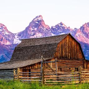 Mormon Barn Sunrise by Robert Golub - Buildings & Architecture Other Exteriors