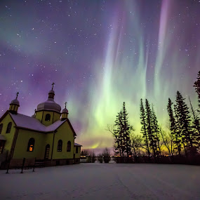 New Years Lights by Drew May - Landscapes Starscapes ( church, alberta, canada, northern lights, sich kolomea, aurora, landscape, sky, drewmayphoto, trees, lamont county, night, drew may photography, ukrainian orthodox church )