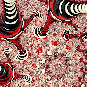 Red black and white zebra striped fractal by Pam Blackstone - Illustration Abstract & Patterns ( red, zebra stripe, white, black )