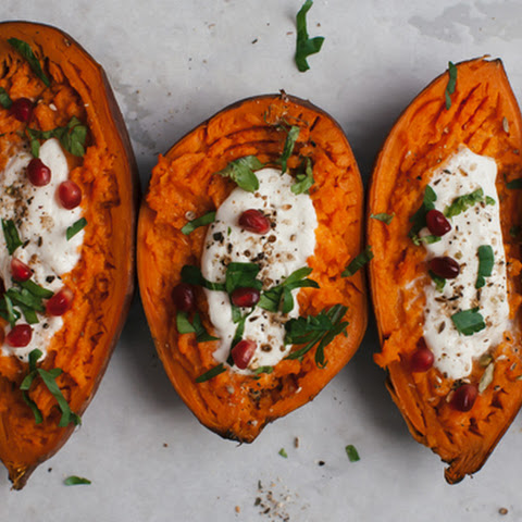 Sweet Potato Boats with Dukkah and Burrata & Pomegranate Seeds