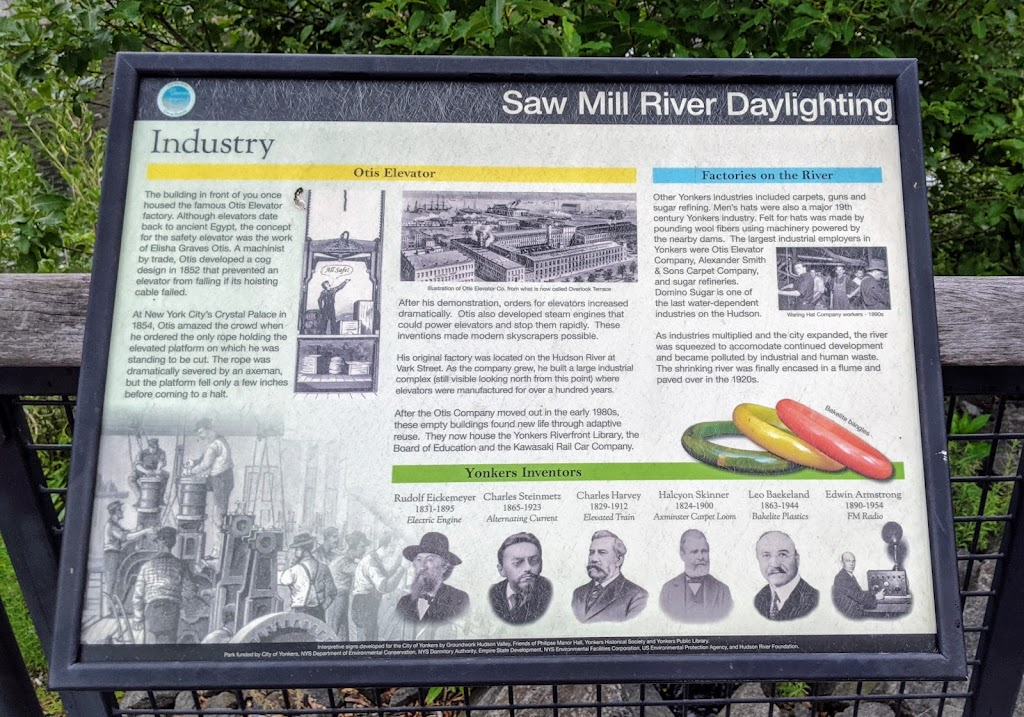Saw Mill River Daylighting Otis ElevatorThe building in front of you once housed the famous Otis Elevator factory. Although elevators date back to ancient Egypt, the concept for the safety elevator ...