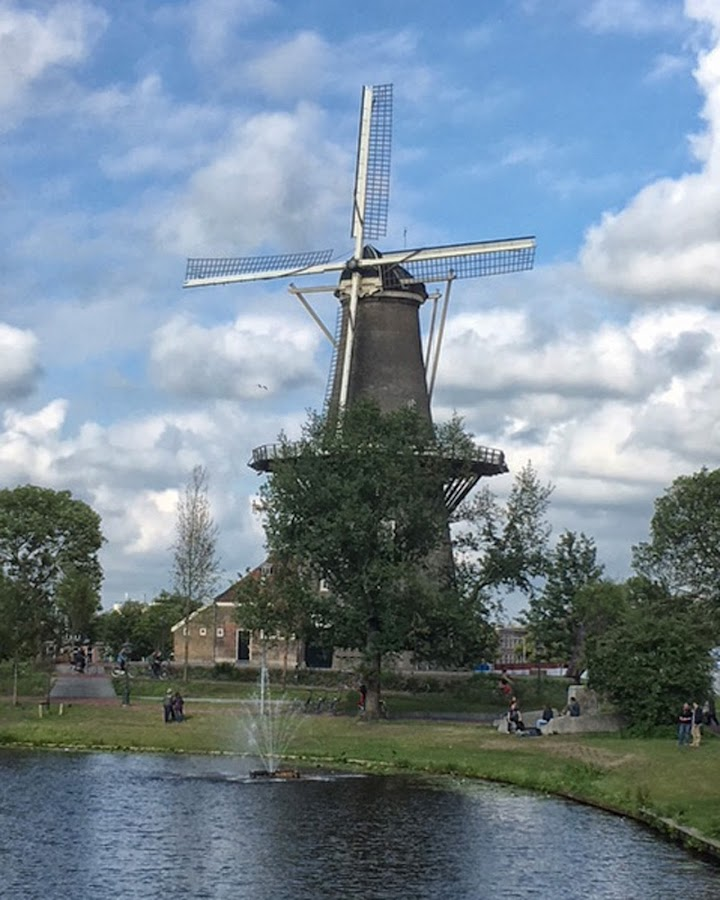 Windmill by Cathleen Steele - Buildings & Architecture Public & Historical ( sky, dutch, culture, windmill, netherlands, clouds, travel, water, energy )