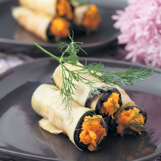 Aubergine and Carrot Roulades