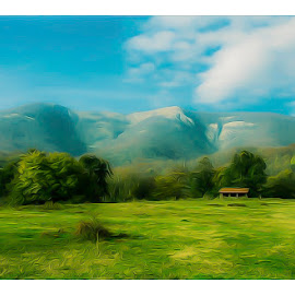 sheepfold by Costin Mugurel - Digital Art Places ( mountain, sheepfold, nature, green, landscape )